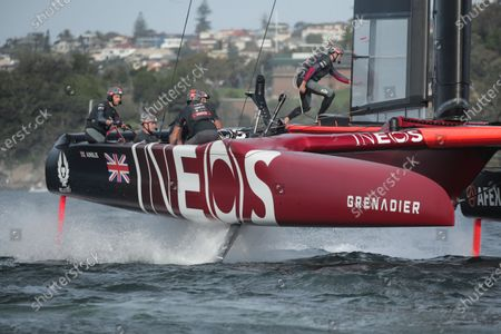 Great Britain SailGP Team helmed by Ben Ainslie in action on Race Day 2. Sydney SailGP, Event 1 Season 2 in Sydney Harbour, Sydney, Australia. 29 February 2020. Photo: Lloyd Images for SailGP. Handout image supplied by SailGP