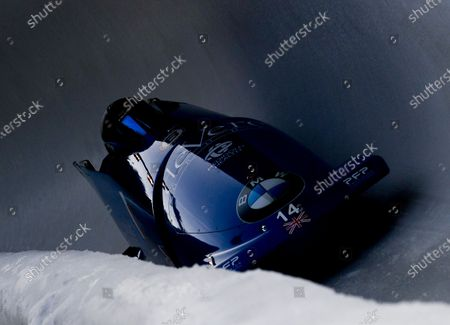 The team of Brad Hall from Great Britain in action during the four-man competition at the Bobsleigh & Skeleton World Championships in Altenberg, Germany, 29 February 2020.