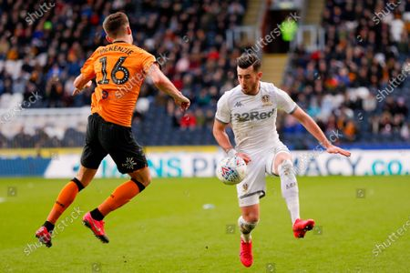 Leeds United midfielder Jack Harrison (22), on loan from Manchester City,  during the EFL Sky Bet Championship match between Hull City and Leeds United at the KCOM Stadium, Kingston upon Hull