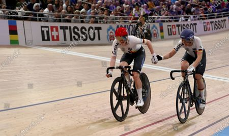 Franziska Brausse (L) and Lisa Klein of Germany in action during the Women's Madison at the UCI Track Cycling World Championships at the Velodrom in Berlin, Germany, 29 February 2020.