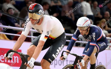 Stock Image of Roger Kluge of Germany (L) and Benjamin Thomas of France in action during the Men's Omnium Elimination Race at the UCI Track Cycling World Championships at the Velodrom in Berlin, Germany, 29 February 2020.