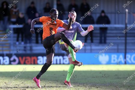 Rob Evans of Halesowen Town and Simeon Akinola of Barnet during Barnet vs Halesowen Town, Buildbase FA Trophy Football at the Hive Stadium on 29th February 2020