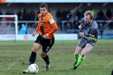 Cheye Alexander of Barnet and James Bowen of Halesowen Town during Barnet vs Halesowen Town, Buildbase FA Trophy Football at the Hive Stadium on 29th February 2020