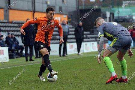 James Bowen of Halesowen Town and Cheye Alexander of Barnet during Barnet vs Halesowen Town, Buildbase FA Trophy Football at the Hive Stadium on 29th February 2020