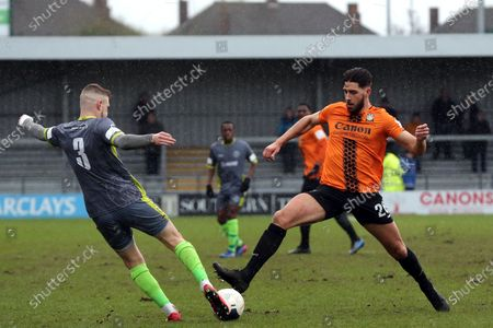 James Bowen of Halesowen Town and Dan Sweeney of Barnet during Barnet vs Halesowen Town, Buildbase FA Trophy Football at the Hive Stadium on 29th February 2020