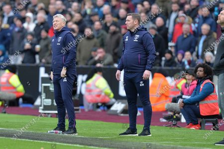 West Ham Manager David Moyes and West Ham First Team Coach Kevin Nolan during West Ham United vs Southampton, Premier League Football at The London Stadium on 29th February 2020