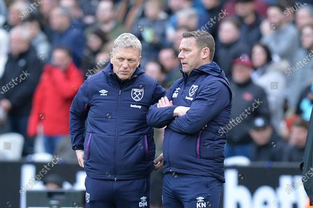 West Ham Manager David Moyes West Ham First Team Coach Kevin Nolan during West Ham United vs Southampton, Premier League Football at The London Stadium on 29th February 2020