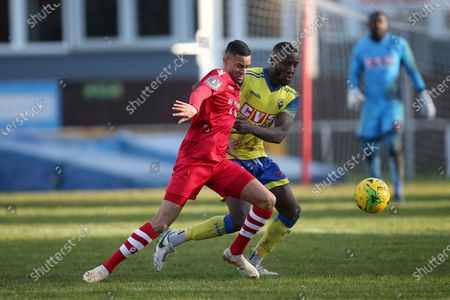 George Saunders of Hornchurch and Salvyn Kisitu of Haringey during Hornchurch vs Haringey Borough, BetVictor League Premier Division Football at Hornchurch Stadium on 29th February 2020