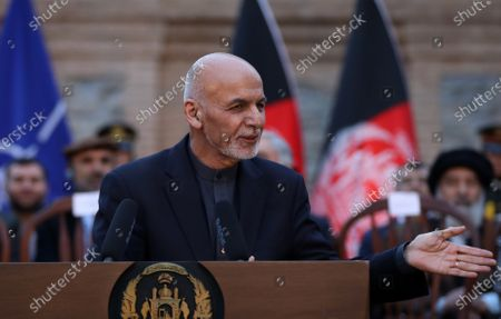 Afghan President Ashraf Ghani, speaks during a joint press conference with US Secretary of Defense Esper and NATO Secretary General Stoltenberg on the declaration of a peace deal signed between the USA and the Taliban, at the presidential palace in Kabul, Afghanistan, 29 February 2020. The US and the Taliban signed on the day a peace deal in Doha, Qatar after an experimental truce and week-long reduction in violence in the country.