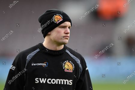 Stuart Townsend of Exeter Chiefs looks on during the pre-match warm-up