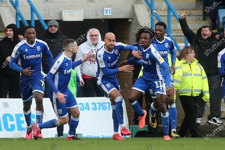 Regan Charles Cook (No 11) celebrates scoring Gillingham's opening goal during Gillingham vs AFC Wimbledon, Sky Bet EFL League 1 Football at The Medway Priestfield Stadium on 29th February 2020