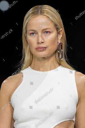 Stock Photo of Carolyn Murphy on the catwalk, fashion detail