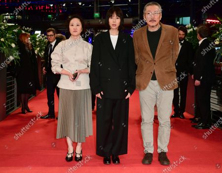 Stock Photo of Seo Young-hwa, Kim Min-hee and South Korean director and screenwriter Hong Sang-soo arrivefor the Closing and Awards Ceremony of the 70th annual Berlin International Film Festival (Berlinale), in Berlin, Germany, 29 February 2020. The Berlinale runs from 20 February to 01 March 2020.