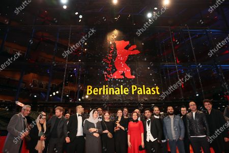 Cast and crew form the movie winners of the Golden Bear on behalf of director Mohammad Rasoulof for the movie 'Sheytan vojud nadarad' (There Is No Evil) celebrate after Closing and Awards Ceremony of the 70th annual Berlin International Film Festival (Berlinale), in Berlin, Germany, 29 February 2020. The Berlinale runs from 20 February to 01 March 2020.