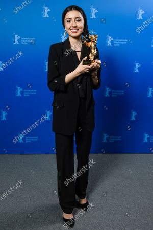 Actress Baran Rasoulof poses with the Golden Bear on behalf of Mohammad Rasoulof for the movie 'Sheytan vojud nadarad' (There Is No Evil) during the Closing and Awards Ceremony of the 70th annual Berlin International Film Festival (Berlinale), in Berlin, Germany, 29 February 2020. The Berlinale runs from 20 February to 01 March 2020.