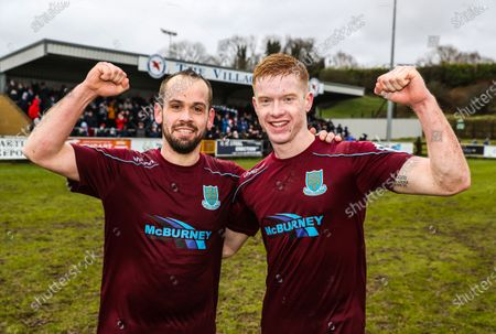 Ballinamallard vs Ballymena United. Ballymena goal scorers Tony Kane and Josh Kelly celebrate after the game