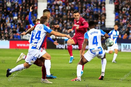 Leganes' Kenneth Omeruo (R) in action against Alaves' Lucas Perez (2-R) during the Spanish La Liga soccer match between CD Leganes and Deportivo Alaves in Leganes, near Madrid, Spain, 29 February 2020.