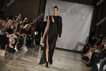 A model presents a creation by Portuguese fashion designer Fatima Lopes from the Fall-Winter 2020/21 women's collection for Fatima Lopes fashion house during the Paris Fashion Week, in Paris, France, 29 February 2020. The Fall-Winter 2020/21 women's collection runs from 24 February to 03 March 2020.