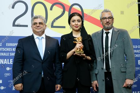 Producer Kaveh Farnam, actress Baran Rasoulof and producer Farzad Pak winners of the Golden Bear on behalf of director Mohammad Rasoulof for the movie 'Sheytan vojud nadarad' (There Is No Evil) attend the Winners' Press Conference after the Closing and Awards Ceremony of the 70th annual Berlin International Film Festival (Berlinale), in Berlin, Germany, 29 February 2020. The Berlinale runs from 20 February to 01 March 2020.