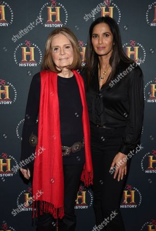 "Padma Lakshmi, Gloria Steinem. Gloria Steinem, left, and Padma Lakshmi attend A+E Network's ""HISTORYTalks: Leadership and Legacy"" at Carnegie Hall, in New York"