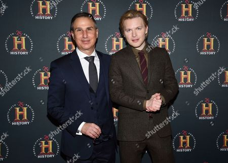 """Paul Buccieri, Ronan Farrow. A+E Networks Group president Paul Buccieri, left, and journalist Ronan Farrow pose together at A+E Network's """"HISTORYTalks: Leadership and Legacy"""" at Carnegie Hall, in New York"""