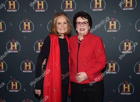 """Gloria Steinem, Billie Jean King. Journalist Gloria Steinem, left, and former professional tennis player Billie Jean King pose together at A+E Network's """"HISTORYTalks: Leadership and Legacy"""" at Carnegie Hall, in New York"""