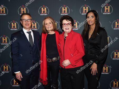 "Paul Buccieri, Gloria Steinem, Billie Jean King, Padma Lakshmi. A+E Networks Group president Paul Buccieri, left, Gloria Steinem, Billie Jean King and Padma Lakshmi attend A+E Network's ""HISTORYTalks: Leadership and Legacy"" at Carnegie Hall, in New York"