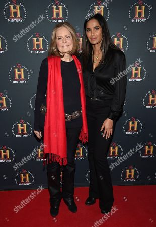 """Gloria Steinem, Billie Jean King. Gloria Steinem, left, and Billie Jean King attend A+E Network's """"HISTORYTalks: Leadership and Legacy"""" at Carnegie Hall, in New York"""