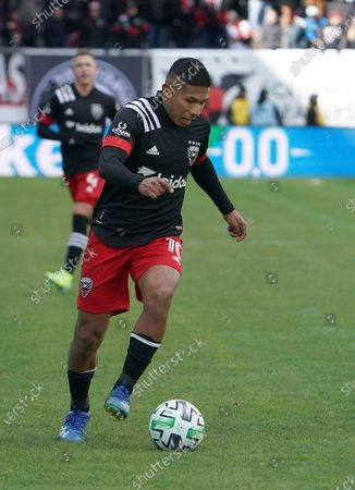 Stock Image of Edison Flores (#10) makes his season debut with DC United on opening day of the MLS season at Audi Field in Washington, DC