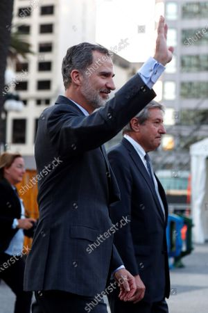 The king of Spain Felipe VI (C) leaves after a meeting with the outgoing President of Uruguay Tabare Vazquez, in the Executive Tower, headquarters of the Executive Branch, in Montevideo, Uruguay, 29 February 2020. The king of Spain is paying an official visit during which he will take part in the investiture of President Luis Lacalle Pou on 01 March.