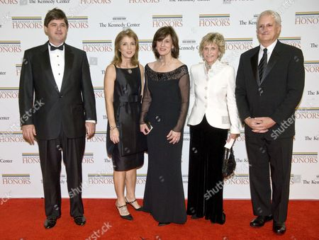 William Kennedy, Caroline Kennedy, husband Edwin Schlossberg,Mrs. Edward Kennedy and Ambassador Jean Kennedy Smith (white jacket)