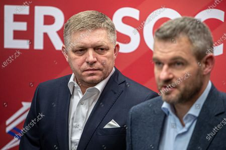 Chairman of Direction - Social Democracy (SMER) party, Robert Fico (L), and Slovakian Prime Minister and election leader, Peter Pellegrini (R), talk to media at press conference after elections night in Bratislava, Slovakia, 01 March 2020. Following the second anniversary of the murder of Slovak journalist Kuciak, Slovakia voted on 29 February to elect all the 150 members of the National Council. According to official results, the opposition movement OLANO with leader Igor Matovic won the parliamentary elections with 25.02 percent. Government party Direction - Social Democracy (SMER) party ended up behind him, with 18.29 percent, and suffered SMER's first defeat since 2006 and is likely to head for the opposition