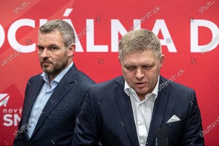 Chairman of Direction - Social Democracy (SMER) party, Robert Fico (R), and Slovakian Prime Minister and election leader, Peter Pellegrini (L), talk to media at press conference after elections night in Bratislava, Slovakia, 01 March 2020. Following the second anniversary of the murder of Slovak journalist Kuciak, Slovakia voted on 29 February to elect all the 150 members of the National Council. According to official results, the opposition movement OLANO with leader Igor Matovic won the parliamentary elections with 25.02 percent. Government party Direction - Social Democracy (SMER) party ended up behind him, with 18.29 percent, and suffered SMER's first defeat since 2006 and is likely to head for the opposition