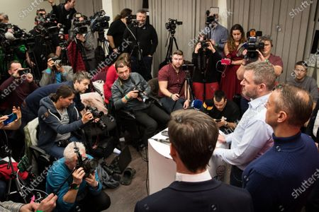 Slovak Prime Minister and election leader of the Direction-Social Democracy (SMER-SD) party, Peter Pellegrini (2-R) attends a press conference in his election headquartes in Bratislava, Slovakia, 01 March 2020. Following the second anniversary of the murder of Slovak journalist Jan Kuciak, Slovakia voted on 29 February to elect all the 150 members of the National Council. Slovak opposition movement OLANO (Ordinary People and Independent Personalities) became the strongest party in the survey of election preferences before the elections. OLANO pushed in second place the strongest government party Direction-Social Democracy (SMER-SD), which has dominated elections of political parties in Slovakia over more than the past 15 years, media reported.