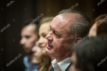 Leader of For the People (Za ludi) party, former Slovak president Andrej Kiska (C) in his election headquarters in Bratislava, Slovakia, 01 March 2020. Following the second anniversary of the murder of Slovak journalist Jan Kuciak, Slovakia voted on 29 February to elect all the 150 members of the National Council.