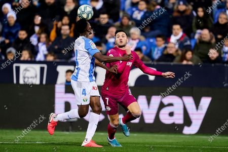 Kenneth Josiah Omeruo of CD Leganes and Lucas Perez of Deportivo Alaves