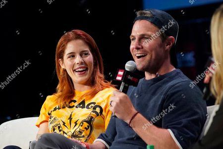 Stock Image of Emily Bett Rickards, Stephen Amell. Emily Bett Rickards, left, and Stephen Amell participate on day 2 during 'A Farewell to Arrow' panel at C2E2 at McCormick Place on in Chicago