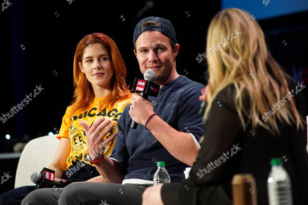 Emily Bett Rickards, Stephen Amell. Emily Bett Rickards, left, and Stephen Amell participate on day 2 during 'A Farewell to Arrow' panel at C2E2 at McCormick Place on in Chicago