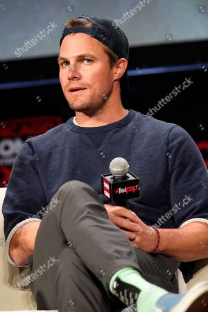 Stock Picture of Stephen Amell participates on day 2 during 'A Farewell to Arrow' panel at C2E2 at McCormick Place on in Chicago