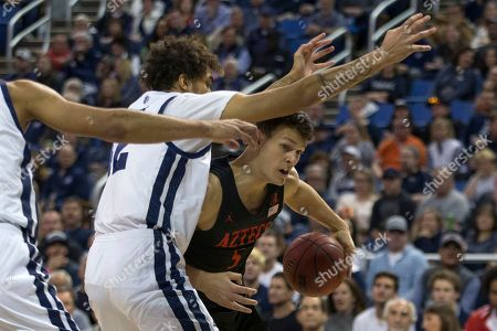San Diego State forward Yanni Wetzell against Nevada during the first half of a basketball game played at Lawlor Events Center in Reno, Nev