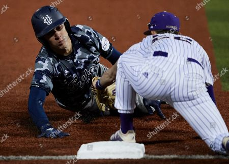 Josh Sheck, Tommy Williams. UC Irvine's Josh Sheck is tags out Washington's Tommy Williams during an NCAA baseball game, in Seattle. Washington won 5-1