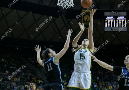 Baylor Lady Bears forward Lauren Cox (15) shoot the ball against Kansas State Wildcats forward Peyton Williams (11) during the 2nd half of the NCAA Women's Basketball game between Kansas State and the Baylor Lady Bears at The Ferrell Center in Waco, Texas