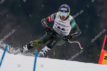 United States' Ted Ligety competes during the super-G portion of an alpine ski, men's World Cup combined, in Hinterstoder, Austria