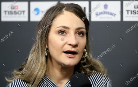 German former track cyclist Kristina Vogel gives an interview at the UCI Track Cycling World Championships at the Velodrom in Berlin, Germany, 01 March 2020.