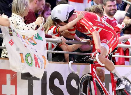 Michael Morkov of Denmark celebrates the victory during the Men's Madison Final at the UCI Track Cycling World Championships at the Velodrom in Berlin, Germany, 01 March 2020.