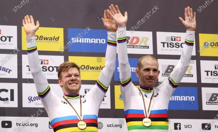 Gold medalists Lasse Hansen of Denmark (L) and Michael Morkov of Denmark during the Men's Madison Final Victoy Ceremony at the UCI Track Cycling World Championships at the Velodrom in Berlin, Germany, 01 March 2020.