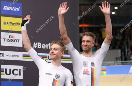 Bronze medalists Theo Reinhardt of Germany and Roger Kluge of Germany during the Men's Madison Final Victoy Ceremony at the UCI Track Cycling World Championships at the Velodrom in Berlin, Germany, 01 March 2020.