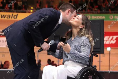German former track cyclist Kristina Vogel (R) receives the the UCI Merit from UCI President David Lappartient (L) at the UCI Track Cycling World Championships at the Velodrom in Berlin, Germany, 01 March 2020.