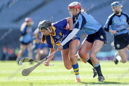 Gailltir vs St. Rynagh's. St. Rynagh's' Kate Kenny and Margo Heffernan of Gailltir