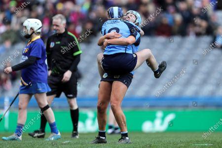 Stock Photo of Gailltir vs St. Rynagh's. Gailltir's Shauna Fitzgerald and Annie Fitzgerald celebrate after the game